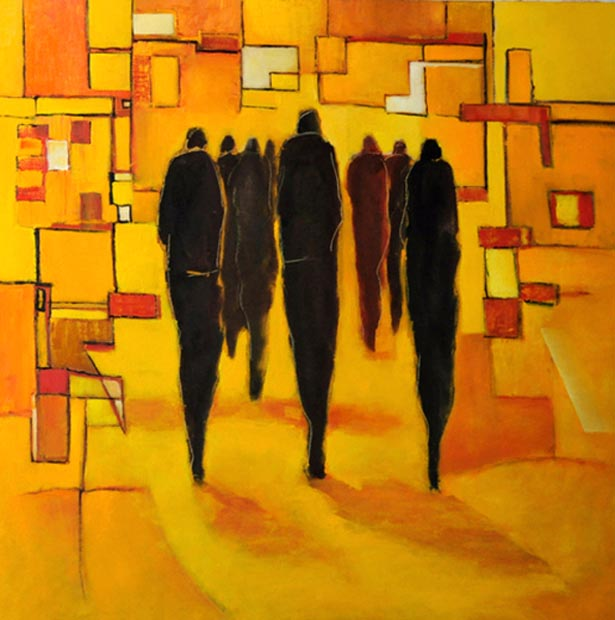"Black silhouettes on yellow. Oil on canvas, 30"" x 30"".  2012. Private collection."