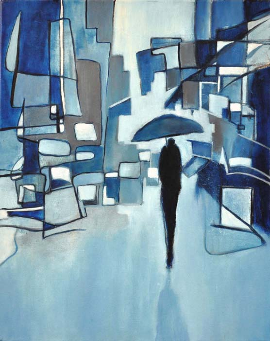 "Blue city walk. Oil on canvas, 16"" x 20"". 2015."