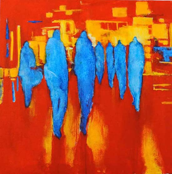 "Blue crowd on red. Acrylic on canvas, 24"" x 24"". 2013"