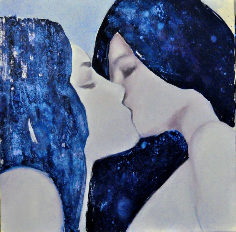 "Blue kiss. Oil on canvas, 36"" x 36"".  2013. Private collection."