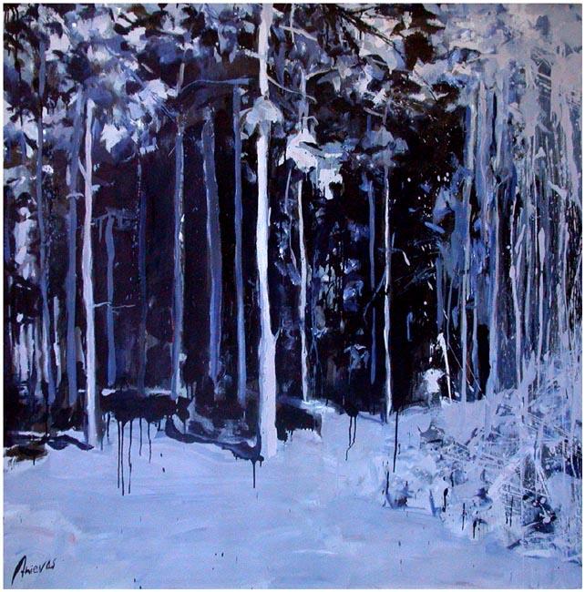 """Blue moon. Oil on canvas, 64"""" x 64"""". 2004"""