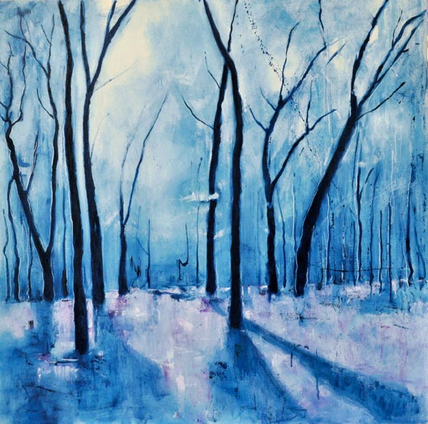 "Blue sunset II. Oil on canvas, 36"" x 36"". 2015."
