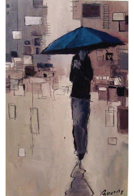 "Blue umbrella on  earth tones. Oil on canvas,  16"" x 25"" .  2009.  Private collection."