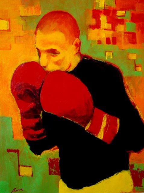 "Boxer in black. Acrylic on canvas, 24"" x 30"". 2009. Private collection."