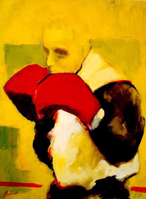 "Boxer in white. Acrylic on canvas, 24"" x 30"". 2009. Private collection."
