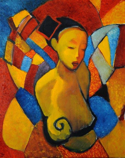 "Busto en calidos. Oil on canvas, 24"" x 30"". 2013. Private collection."