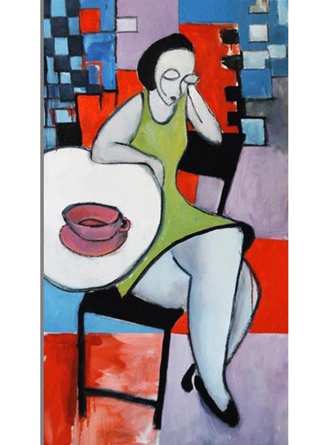 "Cafe. Oil on canvas, 22"" x 40"". 2012. Private collection."