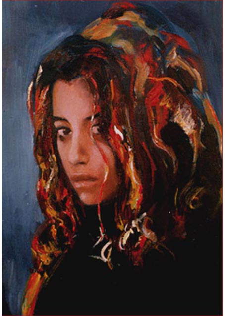 "Carmina. Oil on canvas, 16"" x 20"". 1996. Private collection."