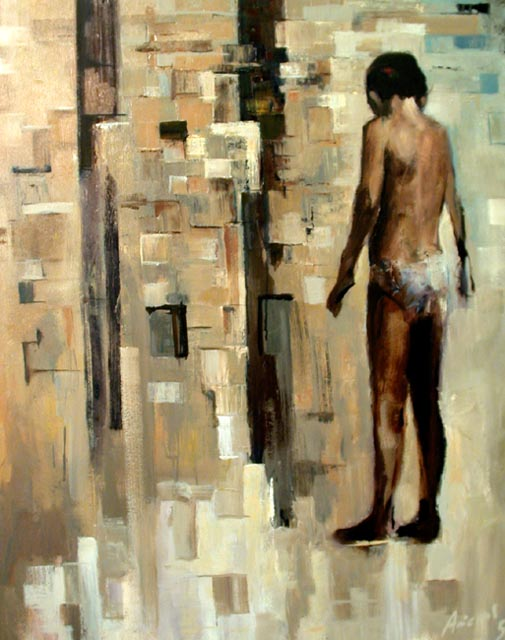"Child wondering. Oil on canvas, 30"" x 40"". 2005. Private collection."