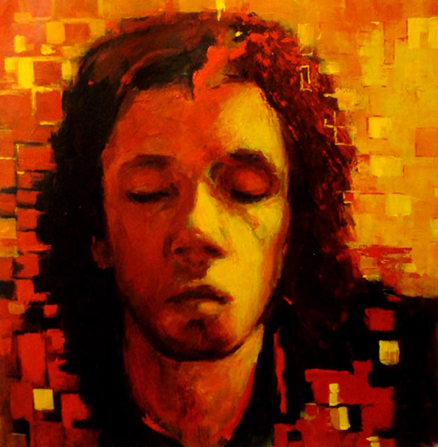 "Claed. Acrylic on canvas,  28"" x 28"".  2009. Private collection."