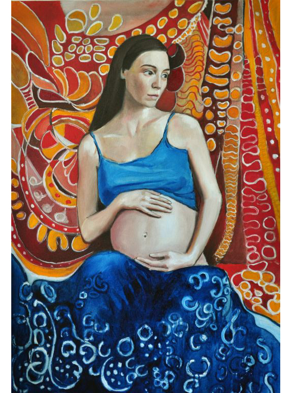 """Conception. Oil on canvas, 24"""" x 36"""".  2013. Private collection."""