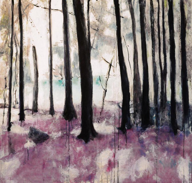 "Cook  forest. Acrylic on canvas, 48"" x 46"". 2012"