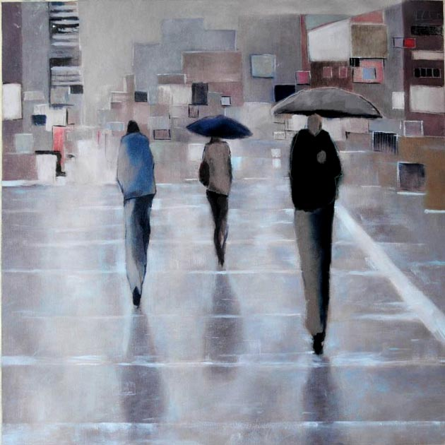 "Crossing with rain. Oil on canvas, 28"" x 28"". 2011.  Private collection."