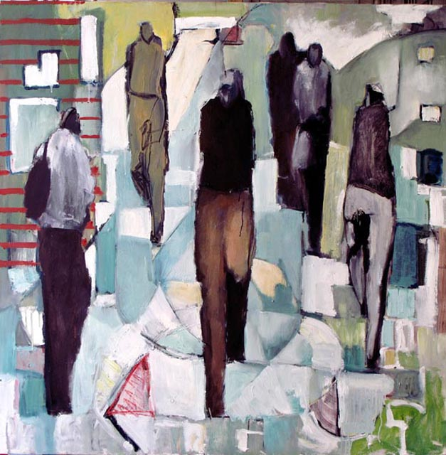 "Crowded solitudes in Manhattan. Oil on canvas, 50"" x 50"". 2010. Private collection."