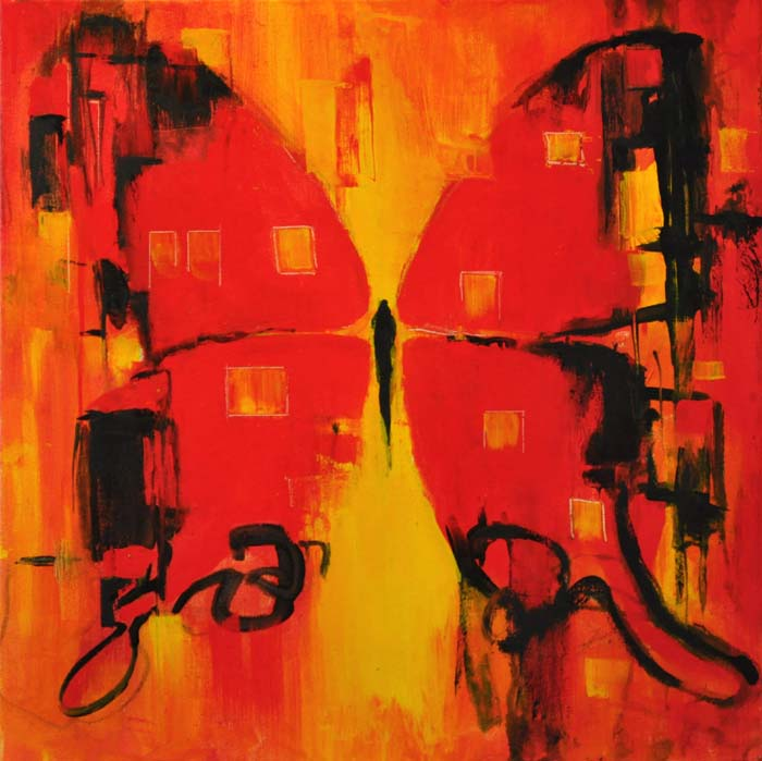 """My self lies at the bottom of my mind...red butterfly.. Oil on canvas, 20""""x20"""". 2016"""