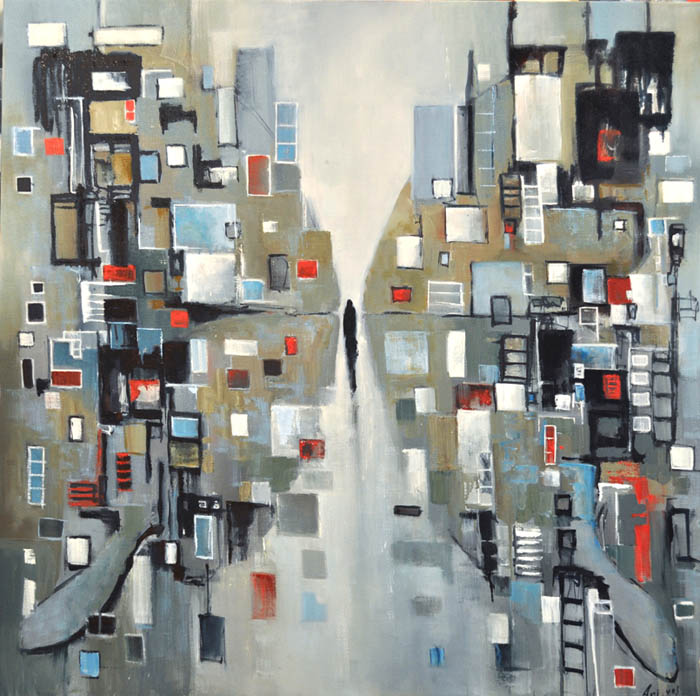 """I feel the city around me...we are one. Oil on canvas, 38"""" x 38"""". 2017"""