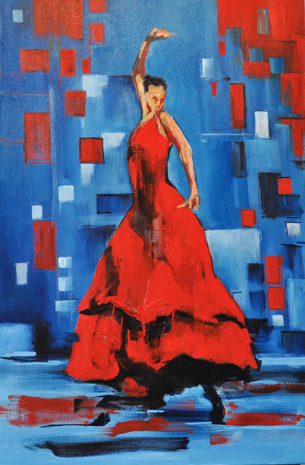 "Flamenco dancer XI. Oil on canvas, 24"" x 36""."