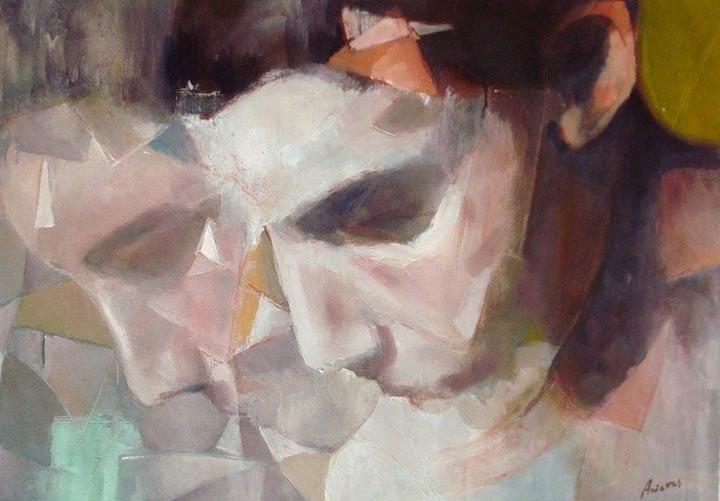 "Dos Momentos. Oil on canvas, 24"" x 34"". 2010. Private collection."