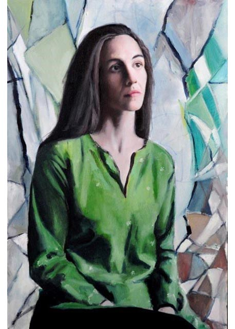 "Elizabeth with green. Oil on canvas, 24"" x 36"". 2011. Private collection."