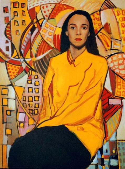 "Elizabeth with yellow. Oil on canvas, 36"" x 48"".  2012."