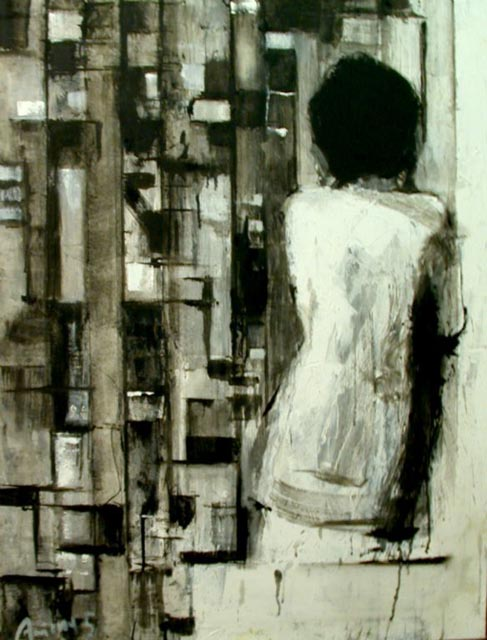 "Facing a wall. Oil on canvas, 30"" x 40"".  2006. Private collection."