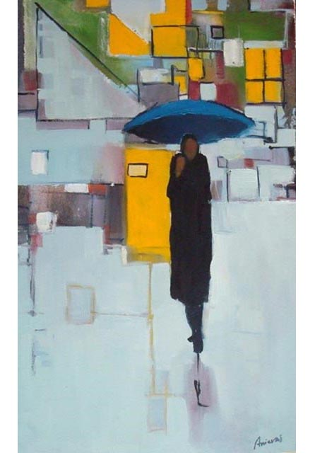 "Figure with blue umbrella. Oil on canvas,  20"" x 32"". 2009. Private collection."