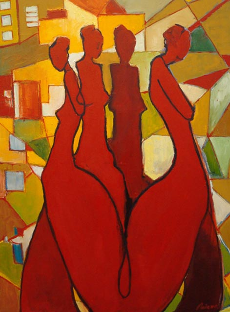 """Five women in red. Oil on canvas, 30"""" x 40"""". 2010. Private collection."""