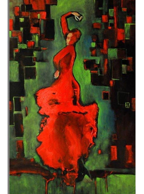 "Flamenco dancer V. Oil on canvas, 24"" x 36"". 2012. Private collection."