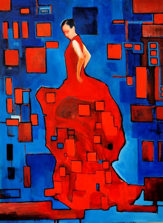 "Flamenco dancer VIII. Oil on canvas, 36"" x 48"". 2013. Private collection."