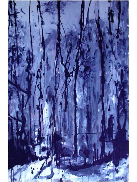 "Full moon light in the jungle. Oil on canvas, 24"" x 38"". 2004.  Private collection."