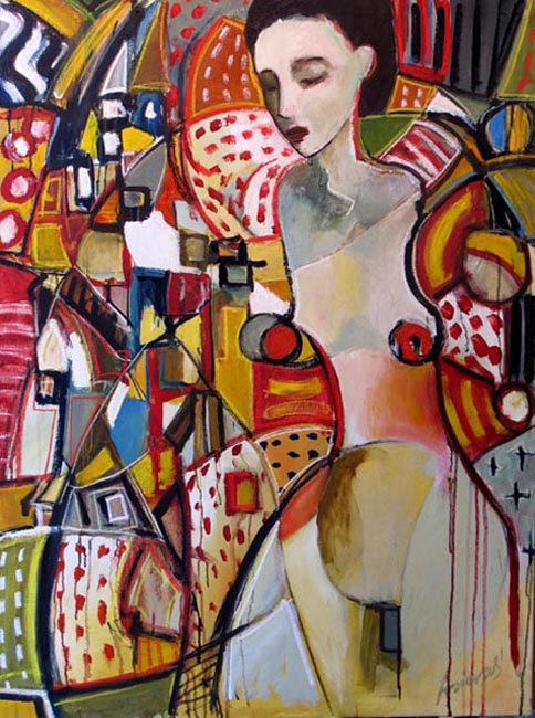 """Her thoughts. Oil on canvas, 38"""" x 48"""". 2010. Private collection."""