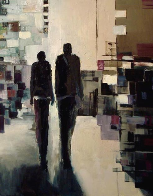 "Interior with two silhouettes. Oil on canvas, 24"" x 30"". 2003. Private collection."