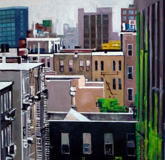 "LIC Roofscape. Oil on canvas, 44"" x 44"". 2010. Private collection."