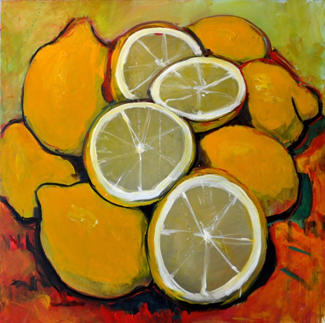 "Lemons II. Oil on canvas, 54"" x 54"" . 2012. Private collection."