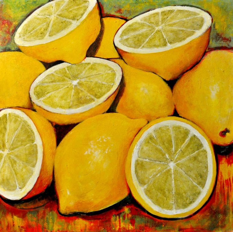 "Lemons III. Acrylic on canvas, 48"" x 48"".  2013. Private collection."