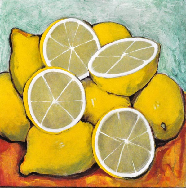 "Lemons IV. Oil on canvas, 24"" x 24"". 2013. Private collection."