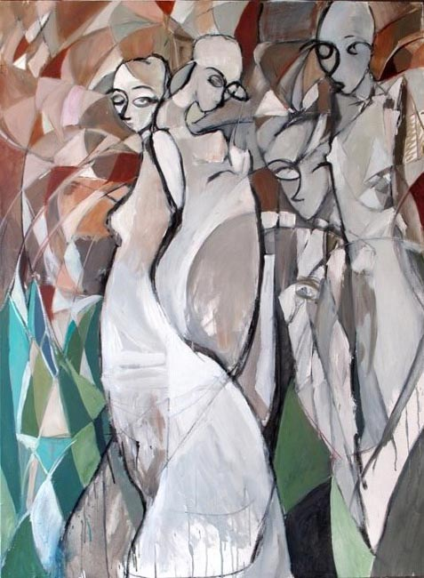 """Mademoiselles. Oil on canvas, 46"""" x 62"""". 2010. Private collection."""