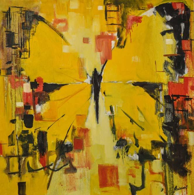 "Mariposa amarilla. Oil on canvas, 25"" x 25"". 2014.Private collection."