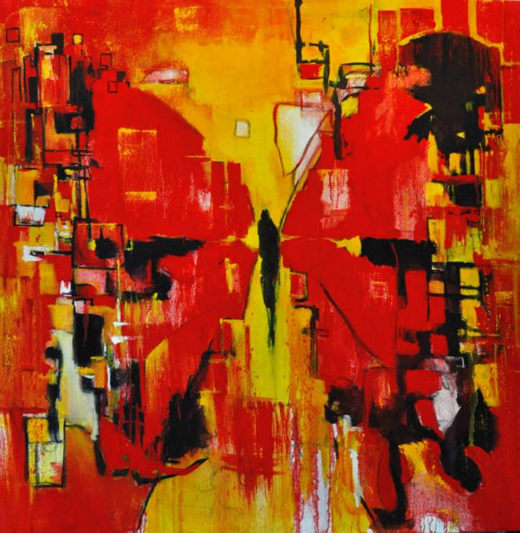 """Me-City (Red Butterfly). Oil on canvas, 36"""" x 36"""". 2014."""