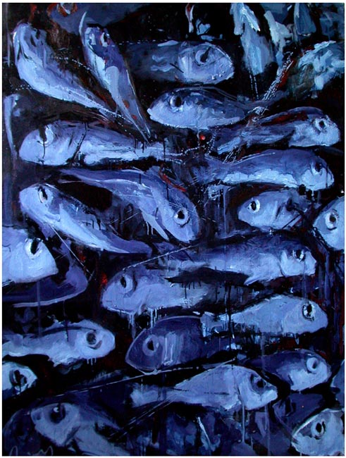 "Me-We -Blue fish. Oil on canvas, 46"" x 62"".  2003. Private collection."