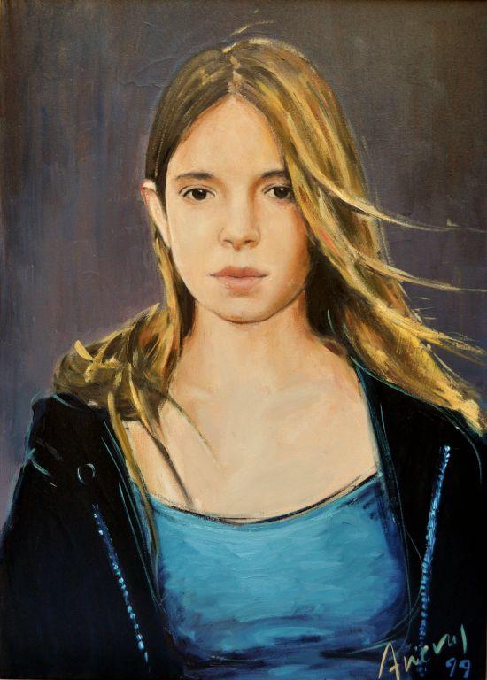"""Miranda. Oil  on canvas, 26"""" x 32"""". 1999. Private collection."""