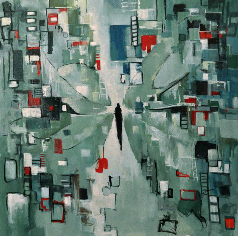 """My city...my thoughts. Oil on canvas, 36"""" x 36"""". 2014. Private collection."""