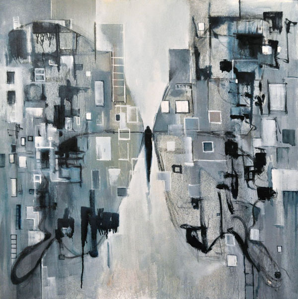 """My thoughts around me...in greys. Oil on canvas, 36"""" x 36"""". 2016. Private collection."""