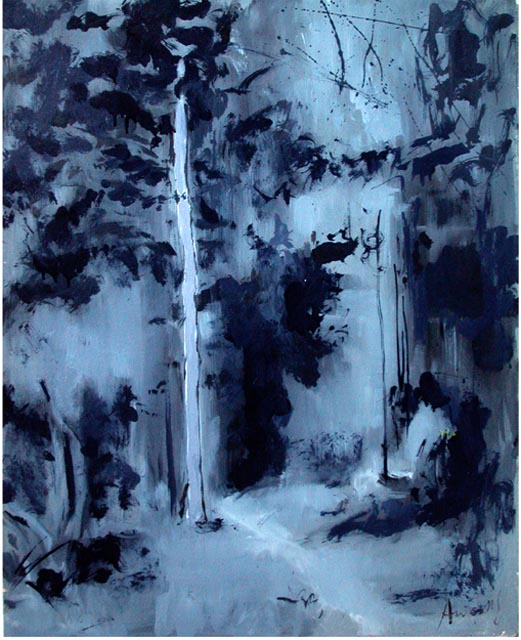 "Nocturnal walk. Oil on canvas, 30"" x  40"". 2004. Private collection."