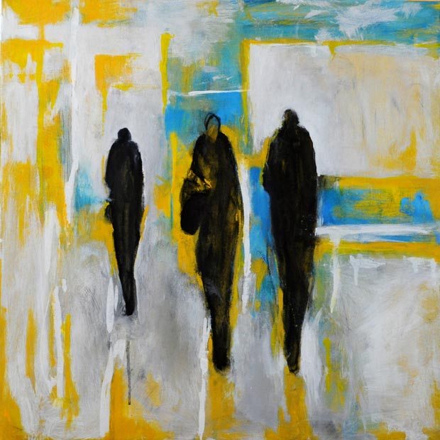 "On white, blue and yellow. Acrylic on canvas,  24"" x 24"".  2012."