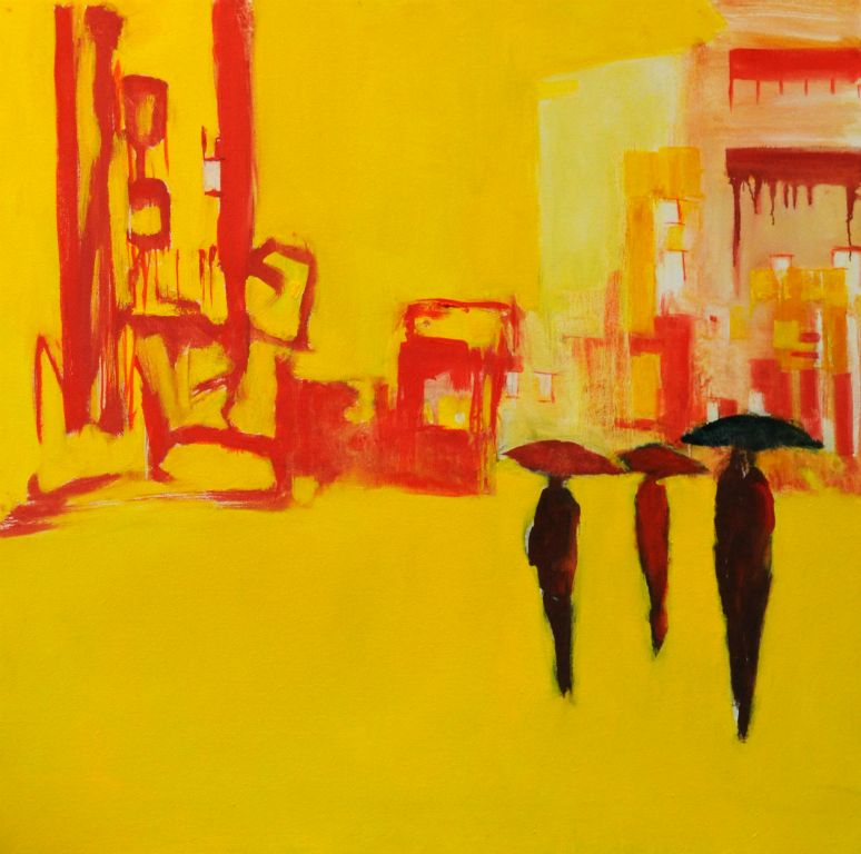 "Rain on yellow. Oil on canvas, 28"" x 28"". 2013. Private collection."