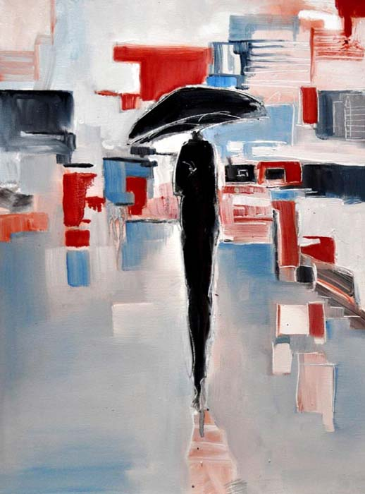 "Rain on blue and reds. Oil on canvas, 18"" x 24"". 2015. Private collection."