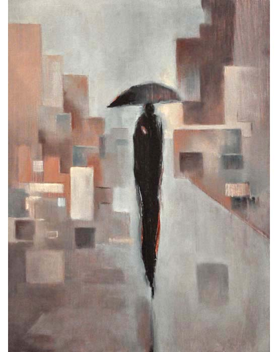 "Rain uno. Oil on canvas, 18"" x 24"". 2014.  Private collection."