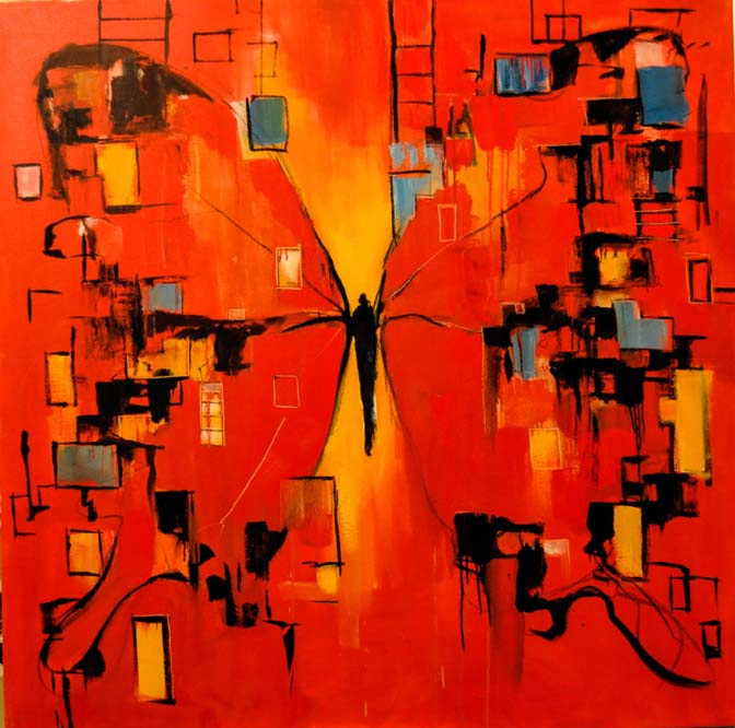 """Red butterfly. Oil on canvas, 48"""" x 48"""". 2015. Private collection. Private collection."""