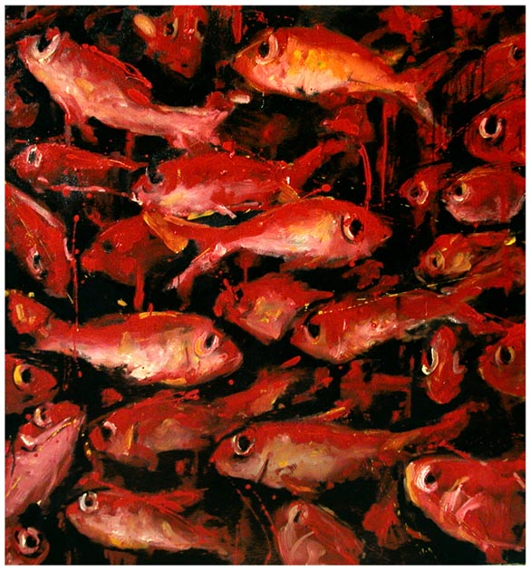"Red fish I. Oil on canvas, 42"" x 40"". 2003. Private collection."